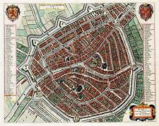 MAP ANTIQUE 1649 BLAEU LEIDEN CITY PLAN OLD LARGE REPLICA POSTER PRINT PAM0059