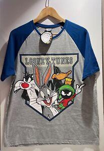 Looney Tunes Size M T-Shirt Tee Grey Blue Bugs Bunny Daffy Sylvester Warner NWT