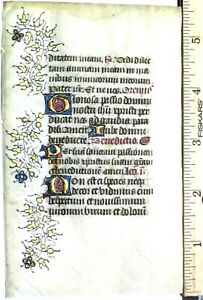 Medieval Book of Hours  leaf,Vellum,gold-heightened initials and border,c.1420
