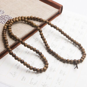 Natural Agilawood Aloeswood Fragrant Wood 108 Round Beads Bracelet 8mm AAAA