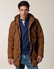 Anerkjendt Madder Brown Hooded Drawstring Parka Coat Medium £120