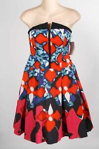 NWT Peter Pilotto Red Poly Blend Floral Strapless Front Zip Cocktail Dress Sz 2
