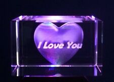 Birthday/Anniversary Present gift For Her. I Love You 3D Laser Engraved Block