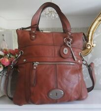 Fossil Maddox Rose Tan Leather Foldover Shoulder Tote Shopper Crossbody Bag Key