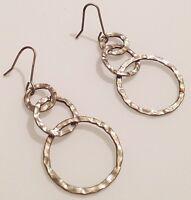 boucles d'oreilles percées rétro de couleur argent pampille anneaux 464