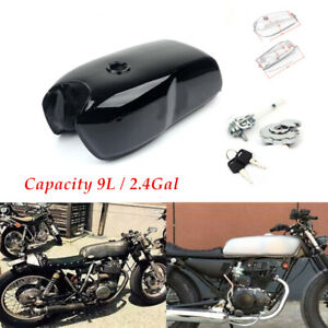 9L / 2.4Gal Vintage Motorcycle Cafe Racer Seat Fuel Gas Tank Petcock &Cap Switch