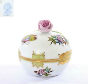 Herend Porcelain Hungary Queen Victoria Trinket Box Rose Flowers Butterfly