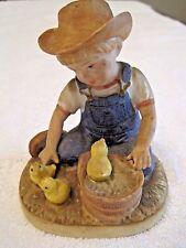 """1985 Homco Home Interiors Denim Days Figurine """"New Beginnings"""" Chicks #1500"""