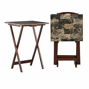 """Linon Home Decor Tray Table Set, Faux Marble 18.88""""W x 15.75""""D x 26.38""""H Brown"""
