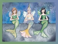 Mythical Creatures Mermaid Original Painting Camille Grimshaw dragon fairy dress
