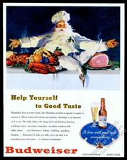 1947 Budweiser Beer Christmas feast lobster goose ham chef art vintage print ad