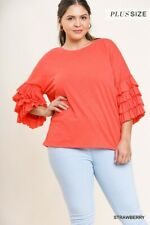 Umgee Red 3/4 Ruffled Sleeve Knit Top Plus Size XL 1XL