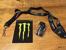 Monster Energy Drink Lanyard Keychain W/ Decal Sticker Nascar Motocross