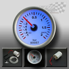"BOOST GAUGE UNIVERSAL 52MM / 2"" WHITE FACE WITH FULL BACK GLOW DISPLAY TOYOTA"