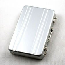 Silver Aluminium Credit Card Holder Mini Briefcase Business Card Coin Case