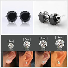 18K White Gold Plated Black Round Cubic Zirconia CZ Stud Earrings Men/Women Gift