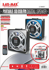 Lax-Max Portable Rechargeable SD/USB/AUX/FM Radio MP3 Speaker Player Silver