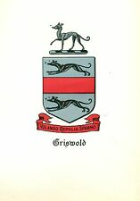 *Great Coat of Arms Griswold Family Crest genealogy, would look great framed!