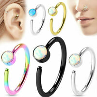 Nose ring hoop jewelry 316L Surgical Steel Opal Gem Center 20 gauge-8mm ring