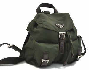 Authentic PRADA VELA Nylon Backpack Khaki A7441