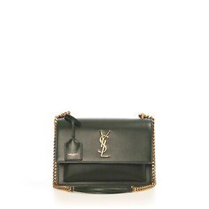 SAINT LAURENT PARIS 2290$ Green Sunset Medium In Smooth Leather