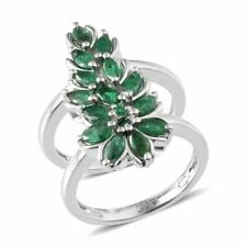 Brazilian EMERALD Marquise Double Band RING in Plat / Sterling Silver 2.18 Cts.