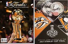 NBA FINALS + STANLEY CUP FINAL PROGRAM SET CAVALIERS WARRIORS PENGUINS PREDATORS