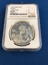 1998 China Panda large date Silver 10 yuan MS68