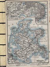 1925 GERMAN MAP ~ RUGEN ~ PUTBUS & GRANITZ THE STUBNITZ BERGEN JASMUND