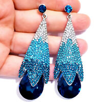 Chandelier Earrings Rhinestone Ombre Aqua Crystal Bridal Prom Pageant Drag 3.1