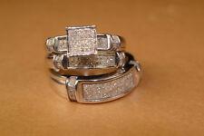 Diamond Trio Set Engagement Ring Wedding Band 14K White Gold FN His Her 2.45 Ct