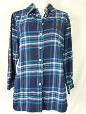 Soft Surroundings Elbow Patch Plaid Flannel Button Down Shirt Crest Pocket Sz PM