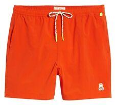 Psycho Bunny Men's Sunset Orange Solid Swim Trunks