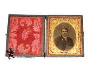 Antique Tintype Photograph Leather Case Man Velvet Interior Brass Latch Matting