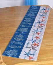 Nautical Starfish Seahorse Table Runner Tropical Beach Seaside Crab Table Runner