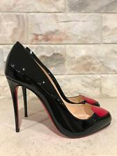 NIB Christian Louboutin Doracora 100 Black Patent Red Heart Heel Pump 37 $795
