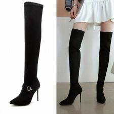 Women's Buckle Stiletto Pointed Toe Stretch Pull On Over Knee Thigh High Boots