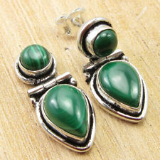 """925 Silver Overlay Real Malachite Jewellery Shops Online Earrings 0.9"""" BRAND NEW"""