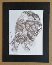 Patrick Roy Pencil Art Print With Mat Frame Signed by Artist