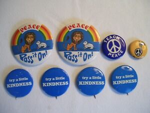 Lot of 8 Vintage KINDNESS and PEACE  Pinback Buttons Assorted Sizes/Designs
