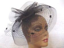 FASCINATOR HAT Ladies Cocktail BLACK Derby Wedding Hats ONE SIZE Acrylic