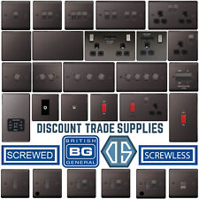 BG Black Nickel Switches & Sockets Full Range Screwed Or Screwless Flatplate