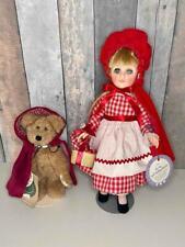 "New ListingVintage Effanbee 11"" Red Riding Hood Doll & 7"" Boyds Red Riding Hood Bear, Mint"