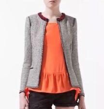 Zara Woman RARE Tweed Fantasy Jacket Blazer Beaded Neckline Open Front M