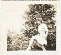Young Woman Hikes Skirt & Skips in Backyard Vintage 1940s Snapshot