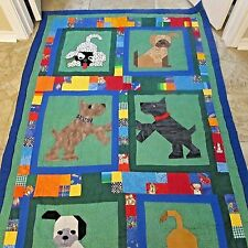 Handmade Quilted Blanket For Boy Girl Bedding With Cute Puppies Patchwork