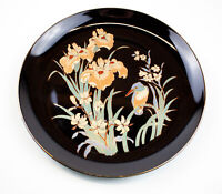 Vintage Black Floral Decorative Plate