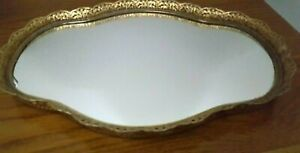 VINTAGE GOLD COLOR FILIGREE OVAL PERFUME OR MAKEUP TRAY