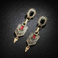Boucles d'Oreilles Clous Doré Art Deco Rouge Pendant Noir Vintage Mariage J8A7