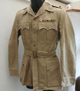 WW1/2 Military British Army Tropical Dress Jacket Tunic Uniform Medal Bars (5499